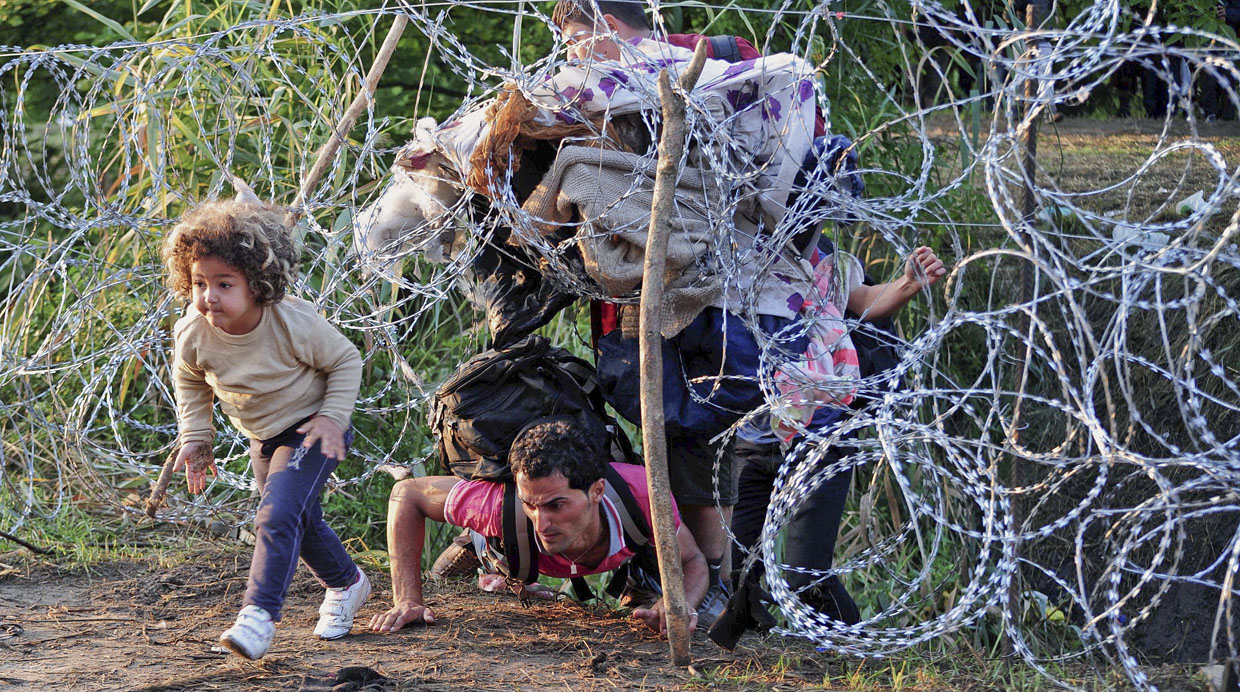 A migrant's family creeps under a barbed fence near the village of Roszke, at the Hungarian-Serbian border on August 27, 2015. As Hungary scrambles to ramp up defences on its border with Serbia, refugees continued to surge into the country in record numbers, police figures confirmed. AFP PHOTO / CSABA SEGESVARI