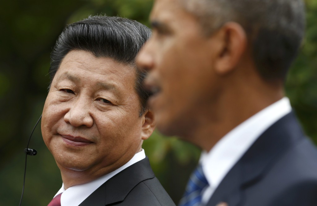 El presidente de China, Xi Jinping, y el presidente de EE.UU., Barack Obama, en Washington, setiembre 2015.