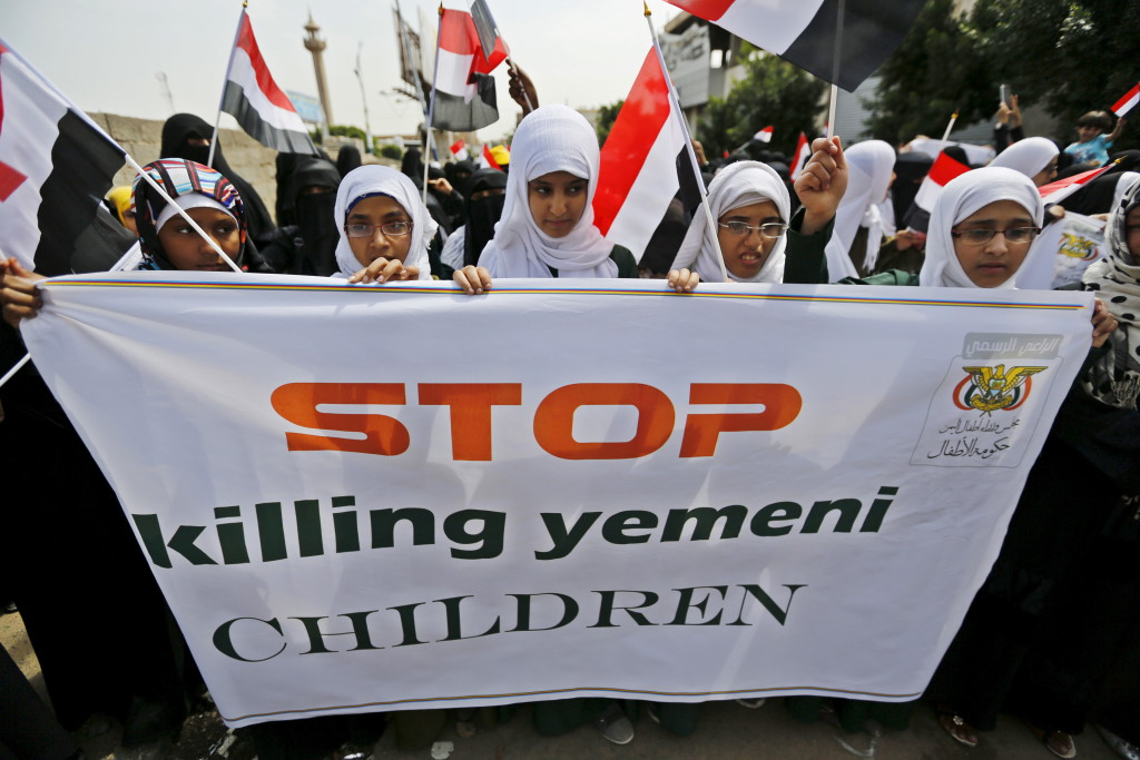 Girls demonstrate against the Saudi-led coalition outside the offices of the United Nations in Yemen's capital Sanaa