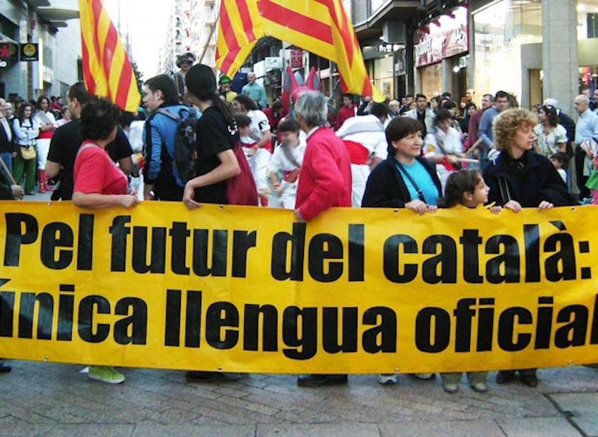 Manifestación contra el bilingüismo en Cataluña